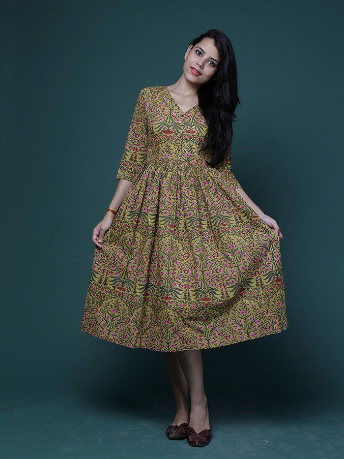 Mustard Mughal Motif Block Printed Cotton Midi Dress