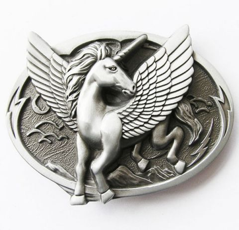Nice unicorn antique finish belt buckle with 3d details effects on the design.