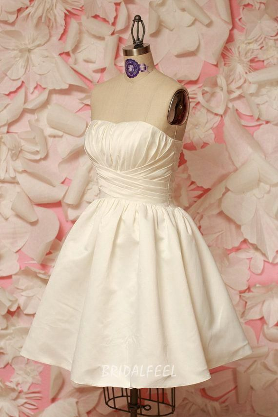 short ivory strapless a-line mini wedding dress