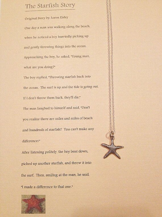 Starfish necklace with Starfish Story -- attn world, this is the only gift I want for my birthday please and thank you