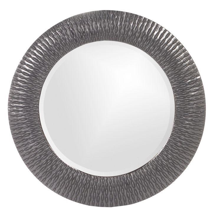 "Howard Elliott Bergman Charcoal Gray Small Round Mirror 32"" Diameter x 1"""