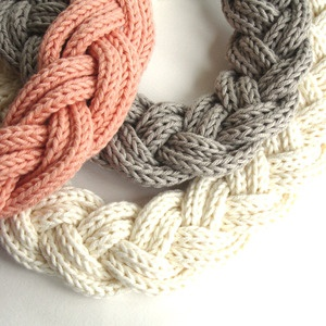 Handmade Fashion - braided coral, grey & ivory chunky necklaces
