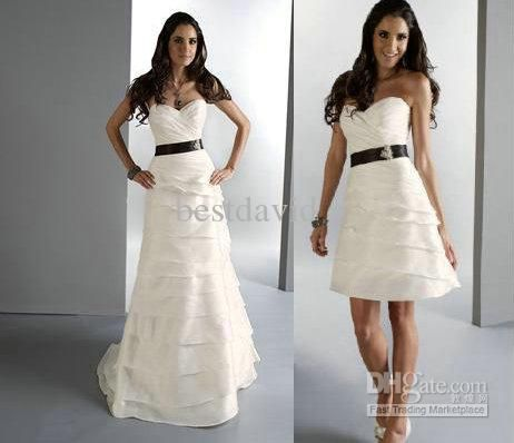 Two Piece Detachable Skirt Wedding Dresses A Line Strapless Sweetheart Tiered Layered Long Taffeta Bridal Gowns 11066