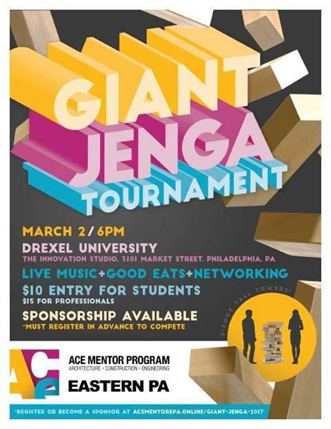 Join your friends in the design and construction community for GIANT JENGA. Just like the tabletop game only super-sized. Teams & sponsorships still available. Click here to register or learn more: http://www.acementorepa.online/giant-jenga-2017/