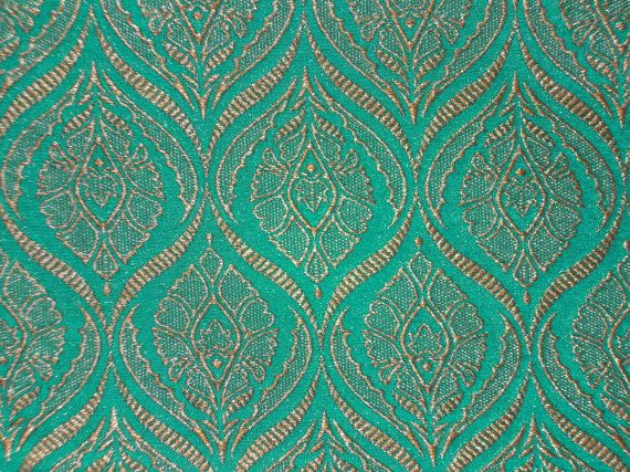 Fat quarter teal green and gold Indian silk brocade fabric