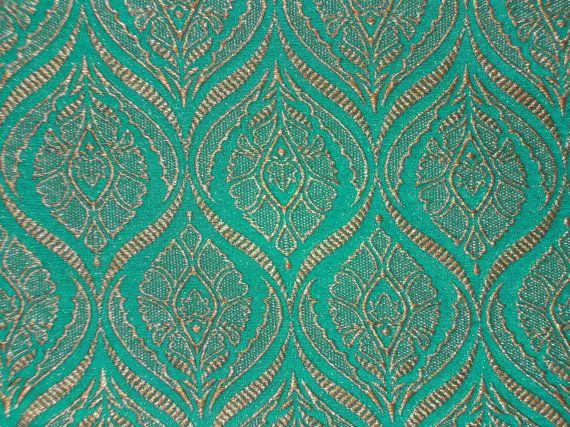 Fat quarter teal green and gold Indian silk brocade fabric