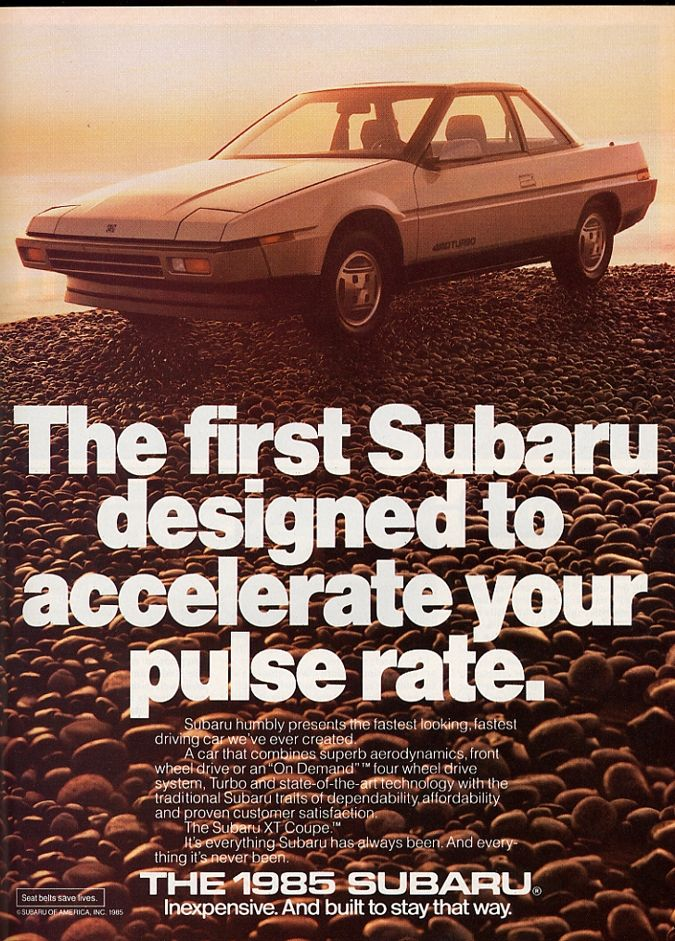 My 1st car, Bought in 1995.   I *loved* that car.   :)   1985 Red Subaru XT GL Coupe.  With cassette player.  Which is what indirectly led to it's demise.  ;)