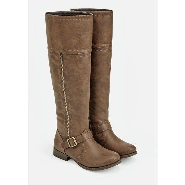 Justfab Flat Boots Socorro ($40) ❤ liked on Polyvore featuring shoes, boots, brown, brown knee high boots, tall brown boots, platform boots, brown platform boots and justfab boots