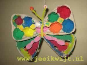Categorie: knutselen. Titel: Lenteknutsel vlinder van eierdoos.