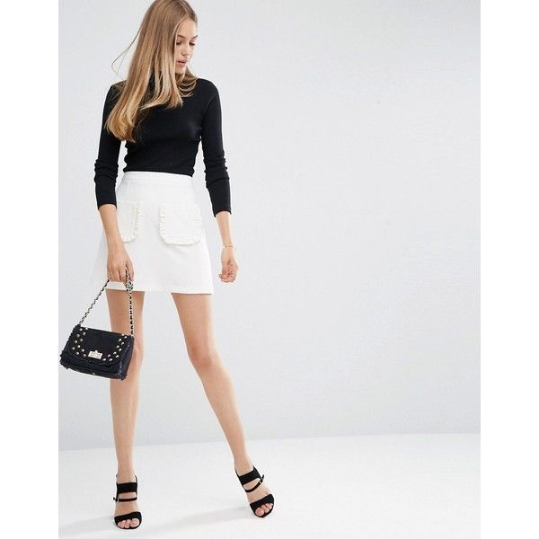 ASOS A-Line Mini Skirt with Ruffle Pocket ($27) ❤ liked on Polyvore featuring skirts, mini skirts, white, short skirts, ruffle mini skirt, short white skirt, white high waisted skirt and a line mini skirt