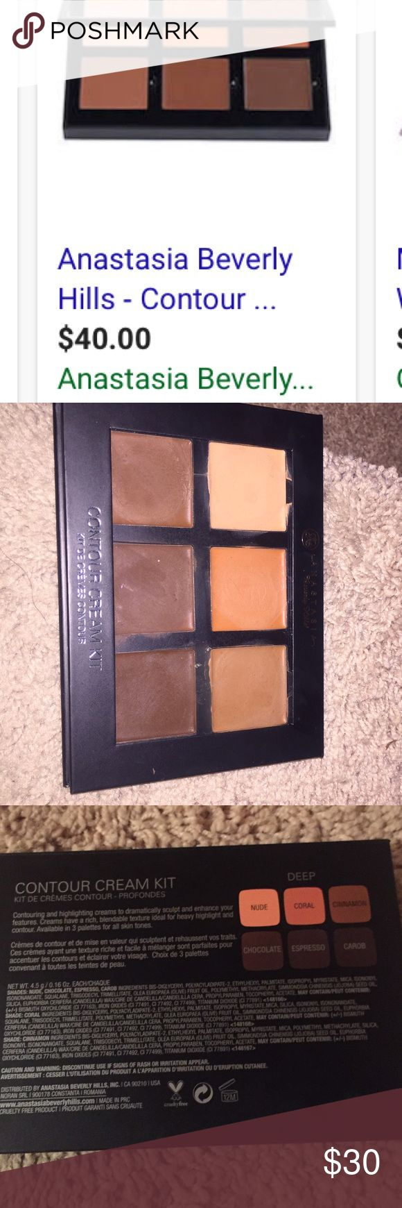 Anastasia Beverly Hills deep cream contour palette Used a few times. Just don't use it. Perfect for highlight and contour. And color correcting for dark spots or dark circles under the eye with the peach corrector. Anastasia Beverly Hills Makeup Concealer