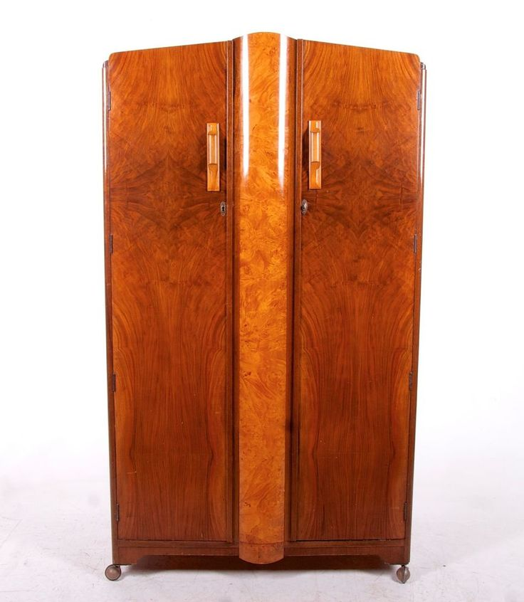 art deco wardrobe gents french compactum walnut birdseye maple vintage 1930s dou artdecoartmoderne wardrobesarmoires art deco figured walnut wardrobe vintage