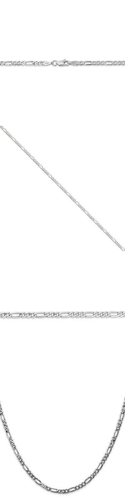 Fine Anklets 101437: Genuine 14K White Gold 3 Mm Flat Figaro Chain Anklet - 9 To 10 Inches -> BUY IT NOW ONLY: $197.99 on eBay!
