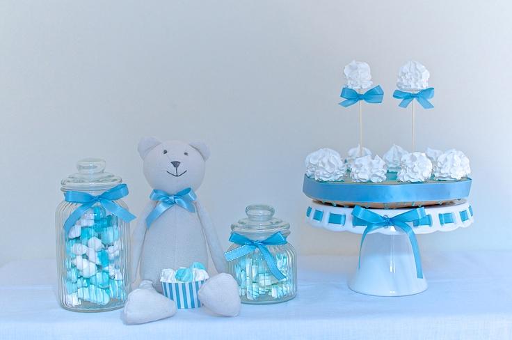Baby Blue Dessert Table by Piccoli Elfi  www.piccolielfi.it