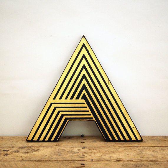 Art Deco Gold Leaf Geometric Distressed Letter A Wall par EdiesLab, $40.00