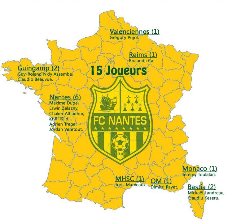 INFOGRAPHIE – FC Nantes : la carte des joueurs formés au club