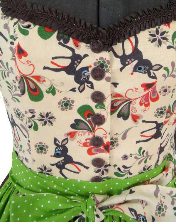 Folklore dress, Dirndl dress, deer dress, printed dress http://www.meinherzblut.com.de/dirndl/dirndl/reh-dirndl.html