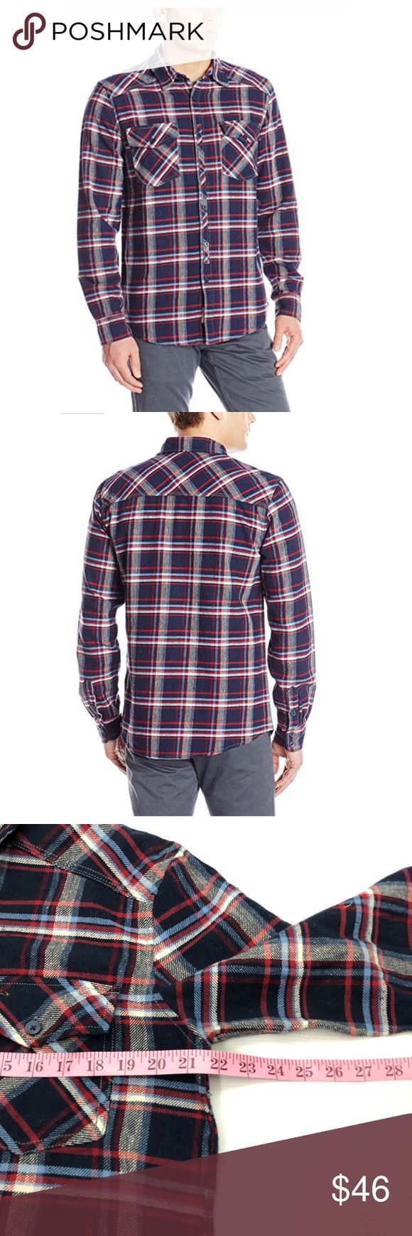 Sliver jeans men's plaid button down shirt New button up men's plaid flannel thick material great for the cold days tag has been marked to prevent store return Silver Jeans Tops Button Down Shirts
