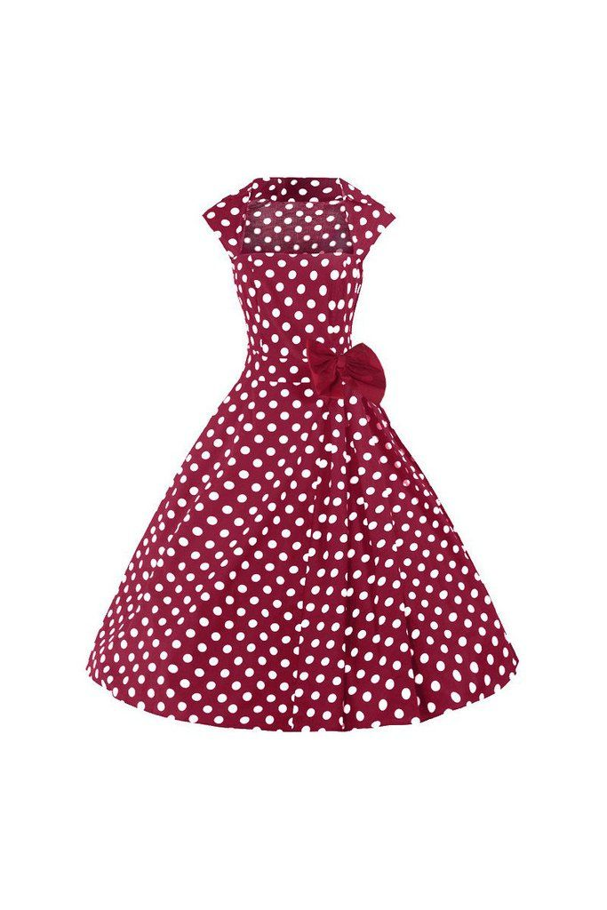 Burgundy Red and White Polka Dot Bow Swing Dress