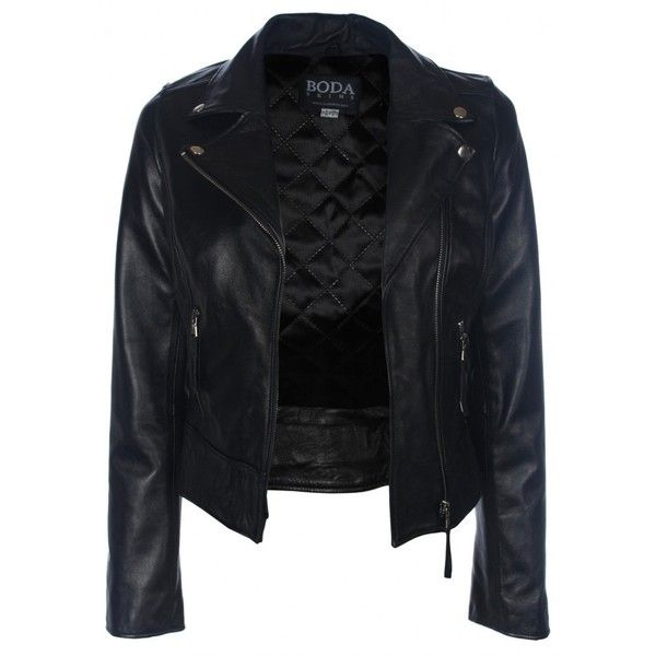 Classic Oil Black Leather Biker Jacket - Boda Skins ($455) ❤ liked on Polyvore featuring outerwear, jackets, leather jacket, casacos, tops, genuine leather jacket, biker jacket, black zip jacket and black motorcycle jacket