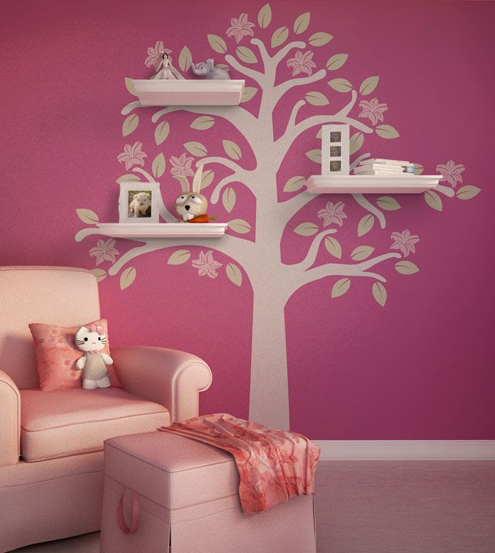 Flowering Tree Shelves Kids Room Wall Decal