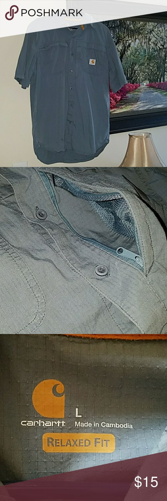Carhartt Men's Relaxed fit Force work shirt! Men's Carhartt  Force, relaxed fit shirt with 2 chest pockets. One 'hidden' zipper pocket to store keys etc. behind Left chest pocket. Very handy! :) Only worn a couple times. Size Large in good, used condition! Carhartt Shirts Casual Button Down Shirts