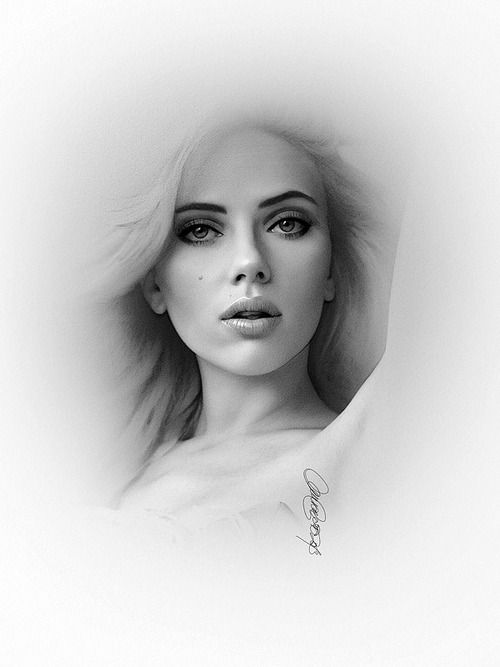 Pencil Portrait Mastery - Scarlett Johansson pencil portrait, 2013. Scanned and edited with Photoshop for level and curve adjustment. - Discover The Secrets Of Drawing Realistic Pencil Portraits