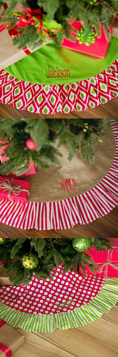 Dress Up Your Holiday Decor With A Monogrammed Pattern Tree Skirt Offering You Stylish And Rustic Look This Measures 48 Inches In Diameter