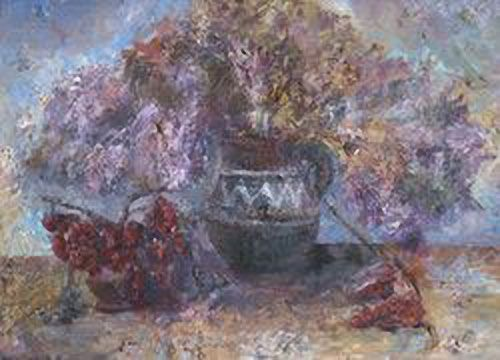 Still-life with a Lilac-coloued Jingil (Tamarisk) Sarsen Baybosinov (1957-) Graduated from the Art School in Nukus. Among his paintings prevail genre scenes and still-lifes, where the main motif is associated with colourful tonality. His pastel compositions with domination of silvery and lilac tones and touches of reddish and brown paints give an impression of colour and light, airiness. One can feel material tangibility of depicted objects in his works, although their contours are not…