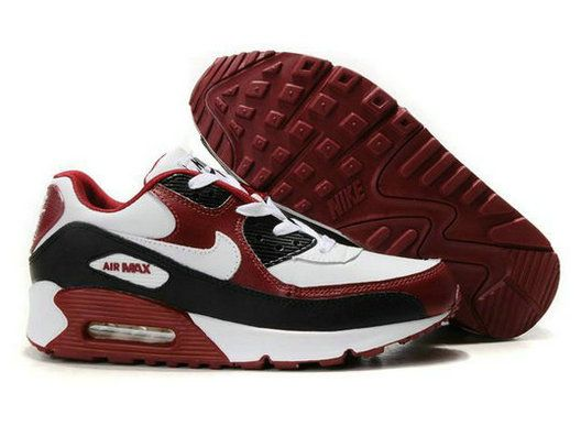 688P28 Nike Air Max 90 Shoes Mens Red/White/Black On Sale