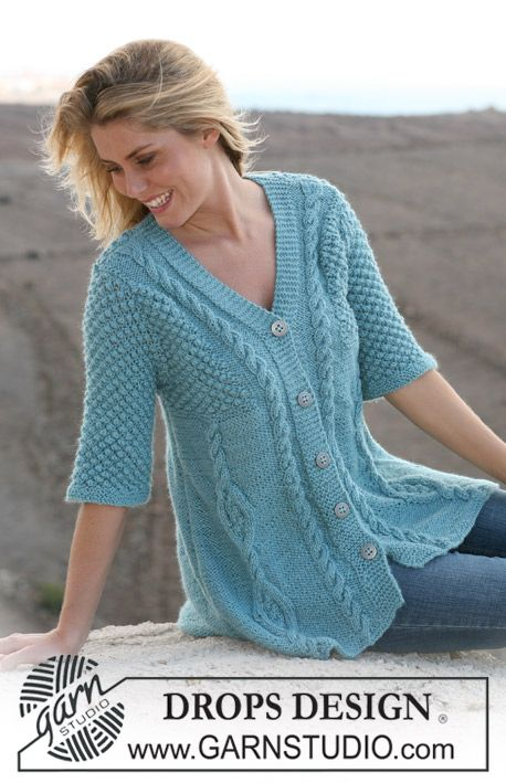 """DROPS A-shaped jacket with cables and berry pattern in """"Silke Alpaca"""". Size S – XXXL. ~ DROPS Design free pattern"""