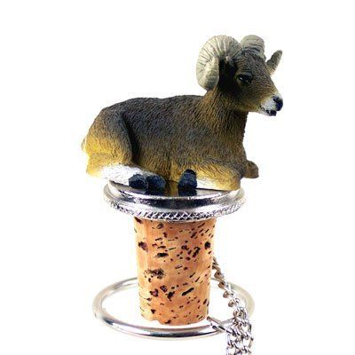 "Big Horn Sheep Bottle Stopper by Conversation Concepts. $11.59. Approximately 1.5 - 2 inches.. Pewter Base with chain and Ring to keep it with the bottle.. Satisfaction Guaranteed. Wine Save Cork. Made of Poly Resin and Hand Painted.. The Animal Bottle Stoppers measure approximately 1 1/2"" to 2"" tall. Each unique Bottle Stopper has a solid plated base and 6"" long chain, with a cork bottle stopper designed to fit any standard wine bottle."