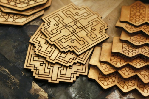 Coasters and geometric cuffs prepped for dying @ the atelier.