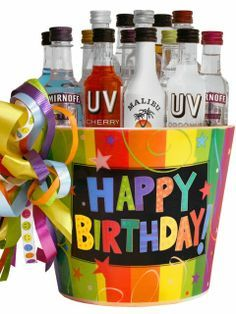 HAPPY BIRTHDAY MINI BAR SET - SKU: A13082655 Celebrate that 21st birthday, 30th birthday and more with this colorful happy birthday bucket filled with 14 assorted mini bar bottles (50 ml each ) which include Jack Daniels, Captain Morgan, Bacardi Silver, Malibu, Smirnoff and more. Price: $49.99
