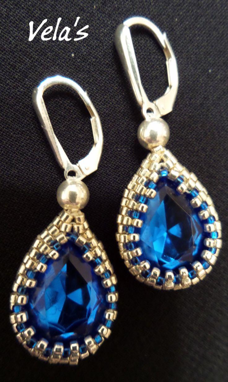 Blue Sapphire Earring Teardrops,  Swarovski Crystals Pear shape Earrings, Blue Sapphire Beaded Earrings, blue and silver seed bead earrings by VelasButtonsandBeads on Etsy
