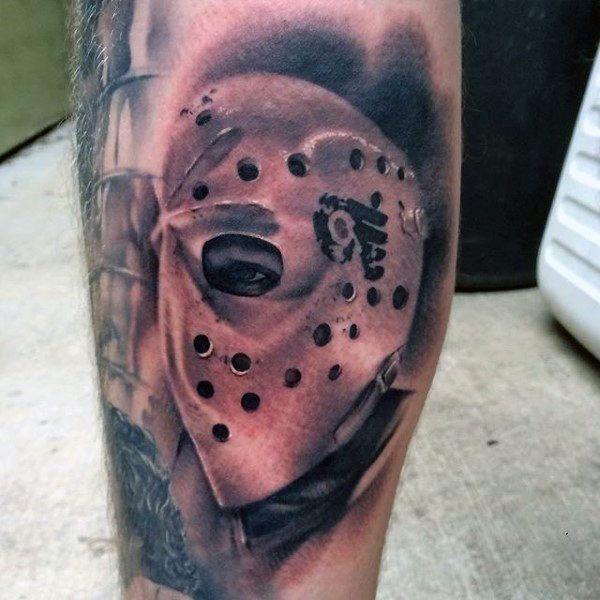Shaded Realistic Hockey Mask Mens Leg Tattoo Ideas Hockey Tattoo Stick Tattoo Skate Tattoo