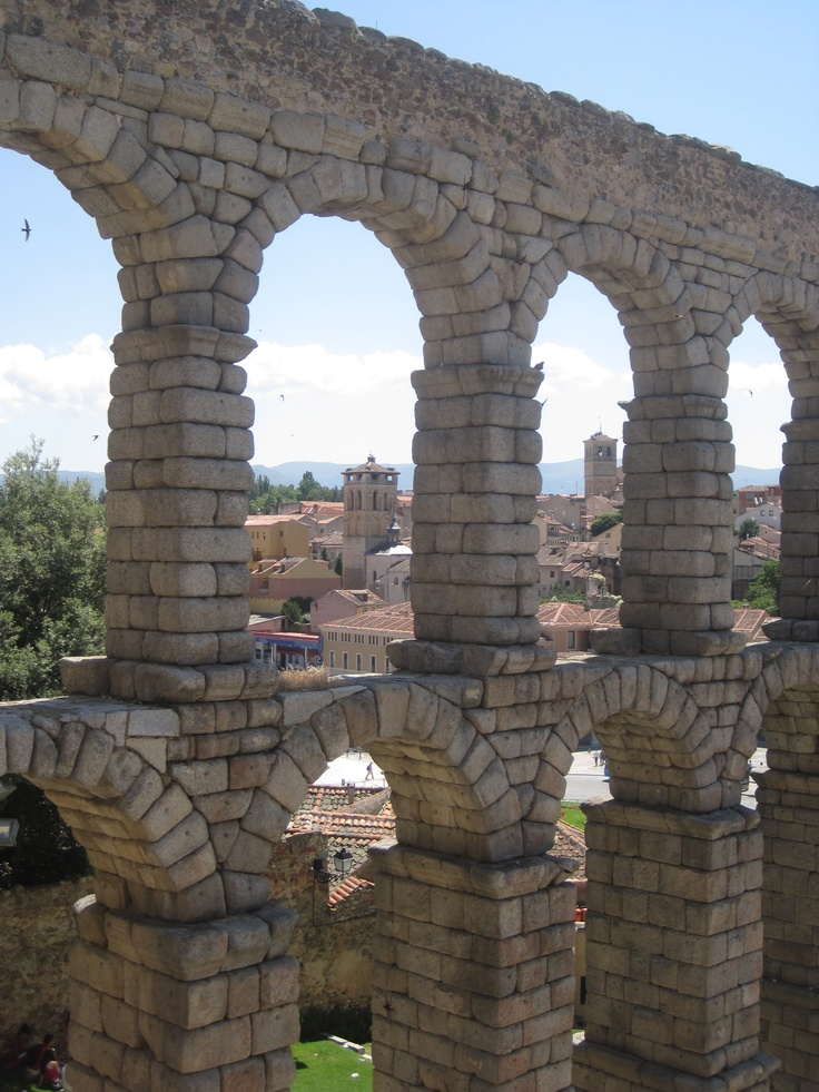 El Acueducto in Segovia, Spain. I lived parallel to it.  No mortar needed, built by Rome & still standing strong.