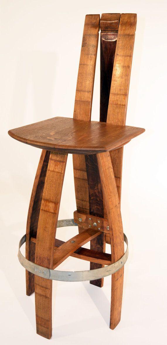 Set Of 2 Reclaimed Urban Wood Bar Stool W Steel Back Fast Shipping Modern Wine Barrel