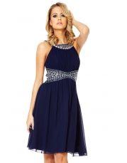 Navy Chiffon Bead Embellished Dress