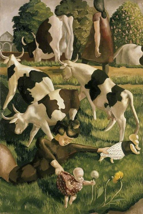 Stanley Spencer - Cows at Cookham (1936)
