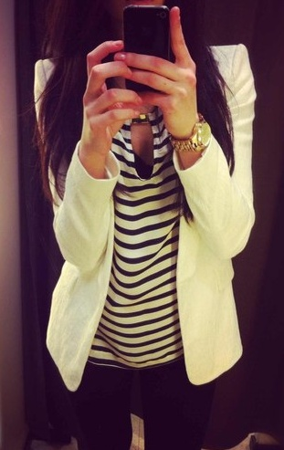 white blazer, black + white striped top, skinnies, gold watch