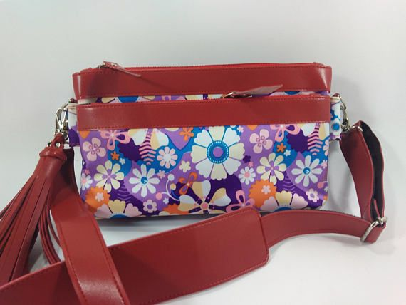 Purple Flower Bag , small crossbody bags for women, Beautiful Flower Bag , Floral crossbody bag, Zipper Pouch Three in one Bags ----------   Introducing the Three in one Bags Crossbody Messenger bag. The Three in one Bags features a trip top zipper closure with long messenger strap. It has a fabric interior, there are pockets included. The Trio is made of soft canvas waterproof .  The color of the flowers do not wear off strong and durable.  Detail Bags :  Size : - Long : 9 inc - High : 5,5…