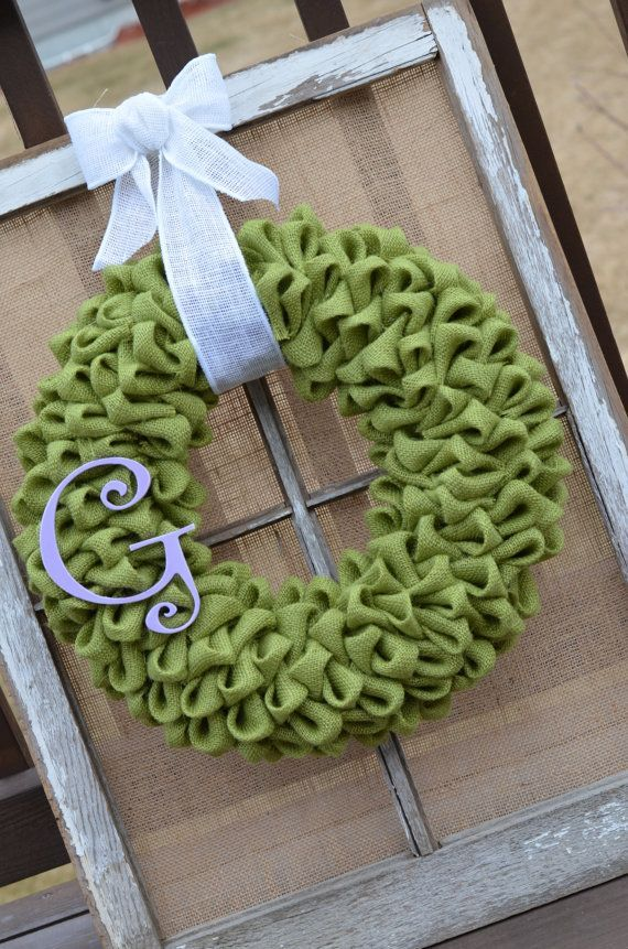 Spring Green Burlap Wreath with Burlap Bow by HomeSpunSugarDesigns