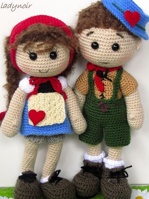 Crocheted Boy and Girl by ladynoir63,.