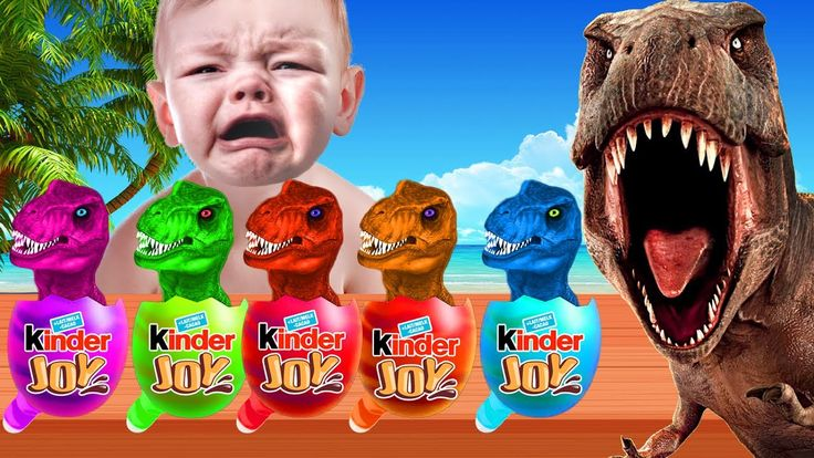 Bad Baby Crying Learn colors with Dinosaur Kinder Joy Surprise Eggs Fing...