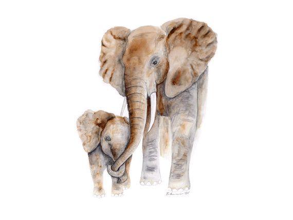 New Mom Gift Elephant Art Print Elephant by TinyToesDesign on Etsy