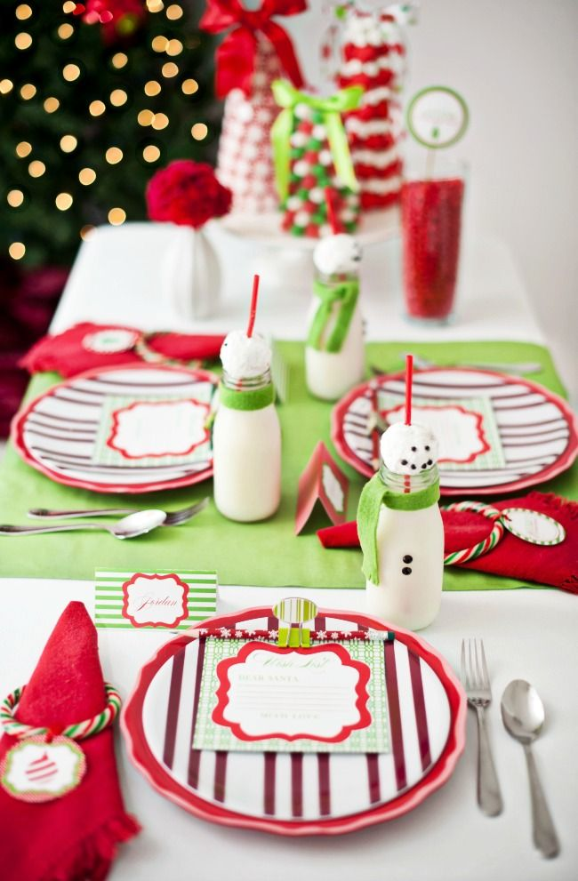 Kids Christmas Table Red Green Setting Kids Table Christmas Christmas Fun Christmas Table Decorations