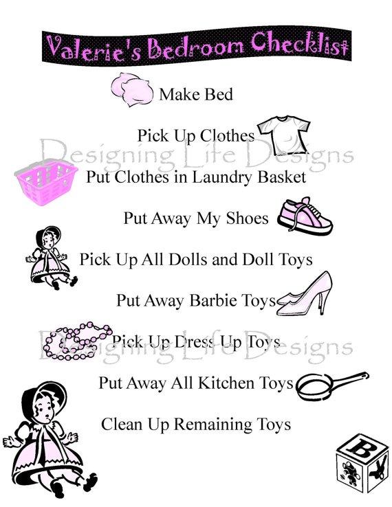 Children's Bedroom Pickup Checklist  Printable