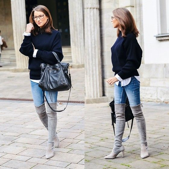 Items in this look: Zara Oversized Sweater, Stuart Weitzman Over The Knee Boots, Zara Blue Skinny Jeans, Balenciaga Bag