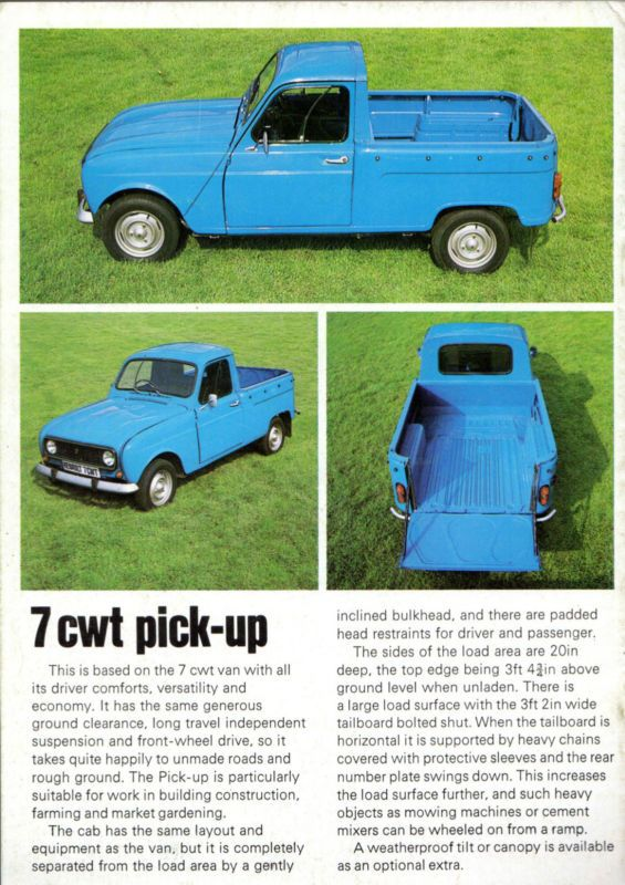 Renault 4 7cwt Van & Pick Up 1975-76 UK